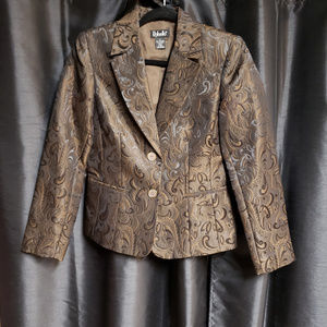 Rafaella size 6 brown swirl print suit jacket